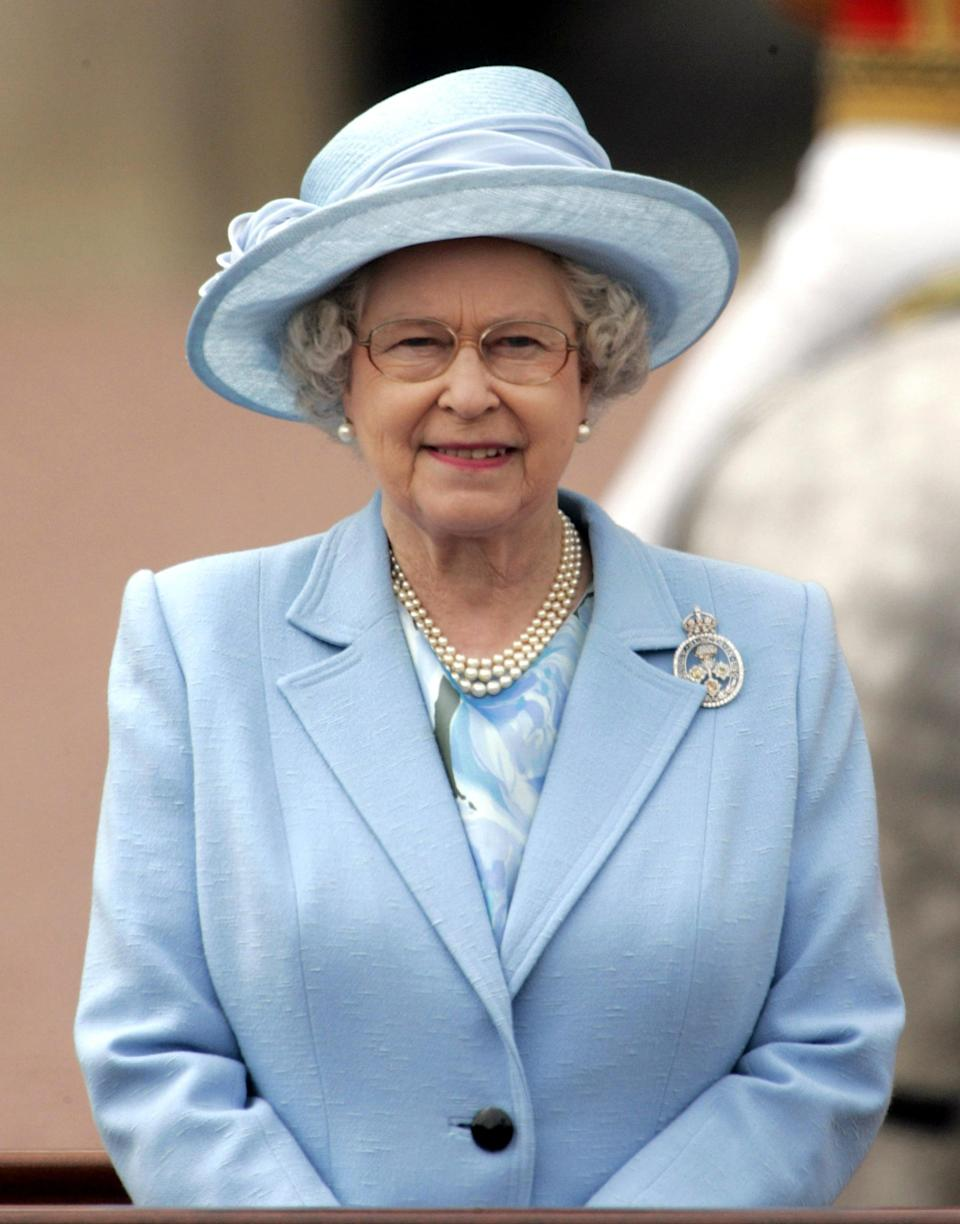 It has become customary for the Queen to wear her diamond Brigade of Guards brooch to the annual ceremony. (Getty Images)