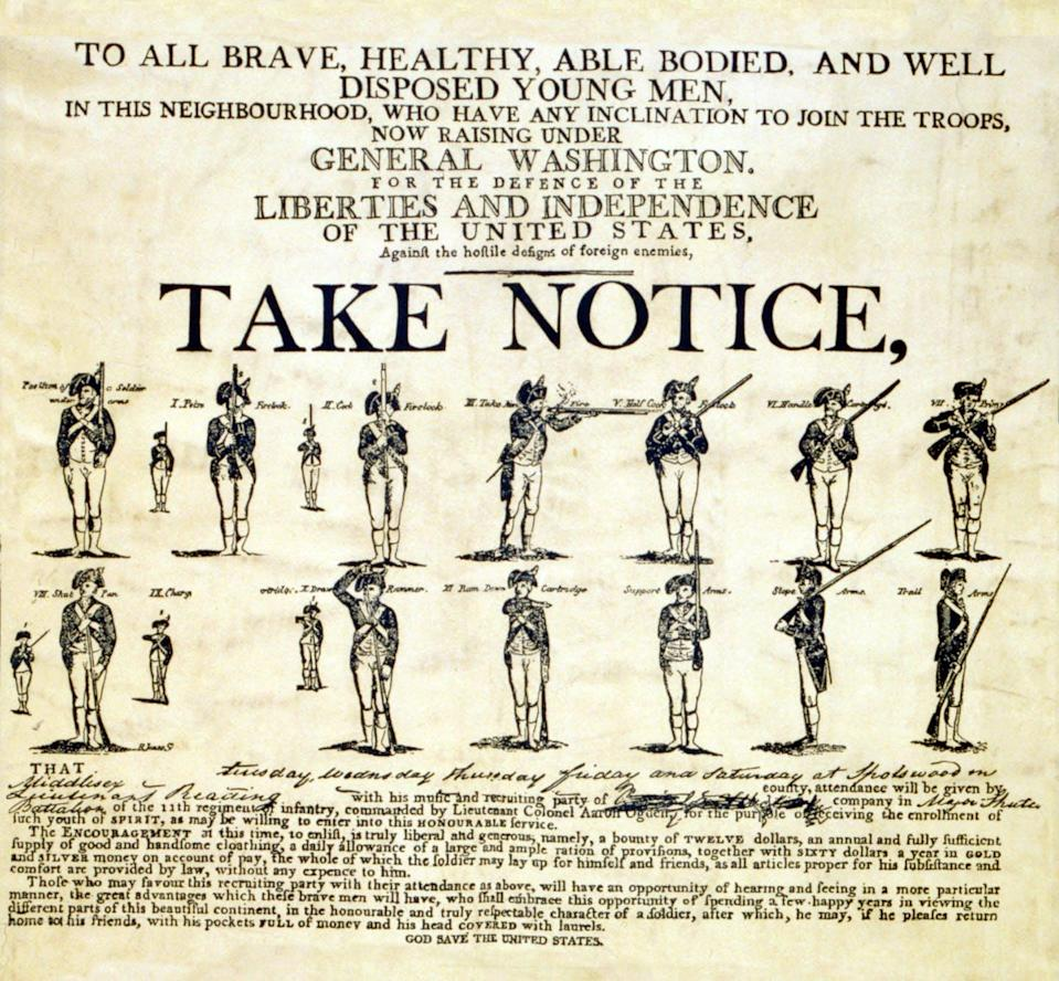 A 1776 recruitment poster for George Washington's Continental Army