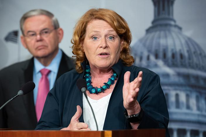 Sen. Heidi Heitkamp, D-N.D., at a press conference about the proposed Central American Reform and Enforcement Act at the Capitol on June 27, 2018. (Photo: Michael Brochstein/SOPA Images/LightRocket via Getty Images)