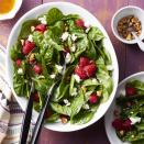 <p>This pretty spinach salad couldn't be easier to make: just whisk together a simple vinaigrette in a serving bowl, then toss it with spinach, goat cheese and hazelnuts. Feel free to swap in your favorite nut for the hazelnuts--this simple salad would also be lovely with pecans, walnuts or almonds. The key is the combo of sweet fruit, tangy vinegar, creamy and salty cheese and crunchy nuts. Serve with grilled chicken or your favorite protein for a healthy dinner that comes together in a snap.</p>