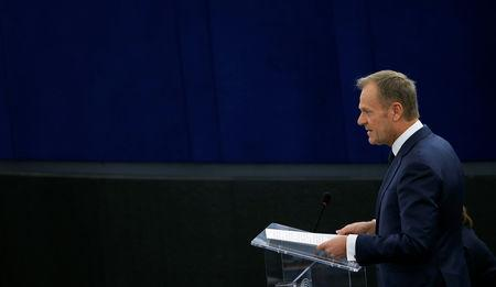 European Council President Tusk delivers a speech during a debate on the outcome of the latest European Summit on Brexit, at the European Parliament in Strasbourg