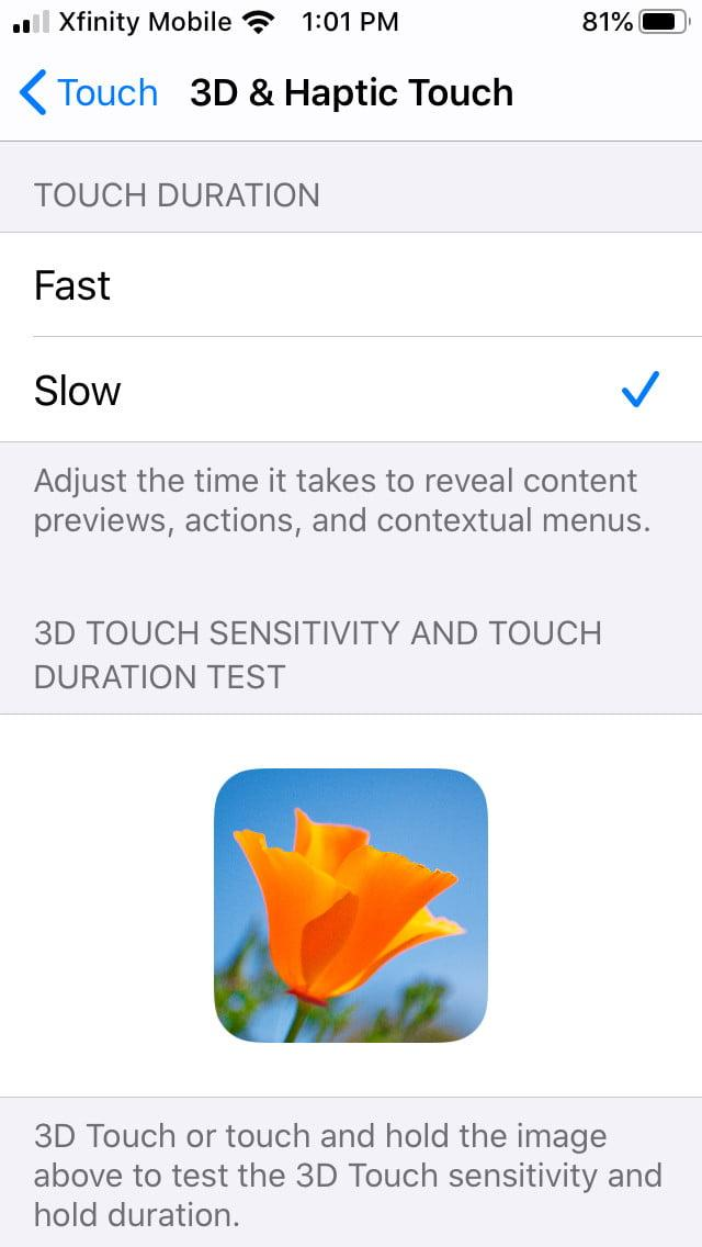 how to disable 3d and haptic touch in ios 13 touch3