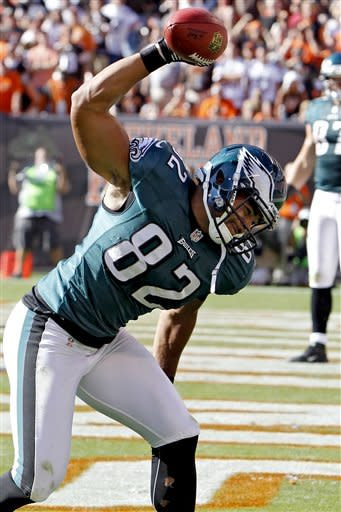 Philadelphia Eagles tight end Clay Harbor celebrates after a touchdown catch in the fourth quarter of an NFL football game against the Cleveland Browns, Sunday, Sept. 9, 2012, in Cleveland. The Eagles won 17-16. (AP Photo/Ron Schwane)