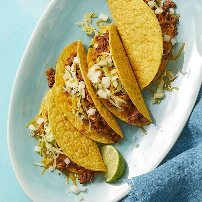 """<p>You don't need to wait until Tuesday to have these mouthwatering tacos. And the best part? They take less than 30 minutes to make!<br></p><p><em><a href=""""https://www.womansday.com/food-recipes/food-drinks/a27285464/smoky-beef-tacos-recipes/"""" rel=""""nofollow noopener"""" target=""""_blank"""" data-ylk=""""slk:Get the Smoky Beef Tacos recipe."""" class=""""link rapid-noclick-resp"""">Get the Smoky Beef Tacos recipe. </a></em></p>"""