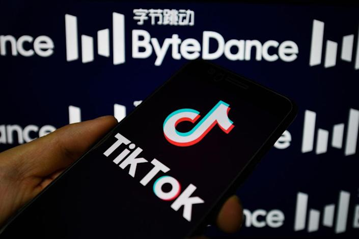 In this photo illustration a TikTok logo is seen displayed on a smartphone with a ByteDance logo on the background. (Photo Illustration by Sheldon Cooper/SOPA Images/LightRocket via Getty Images)