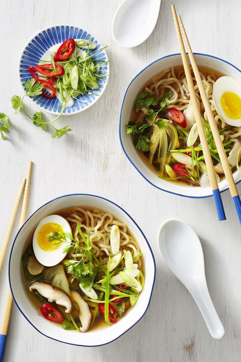 """<p>Your college diet has received an upgrade. This time, customize your bowl of ramen with fresh ingredients like shiitake mushrooms, snow peas, and bok choy. </p><p><em><a href=""""https://www.goodhousekeeping.com/food-recipes/easy/a22729685/vegetable-ramen-with-mushrooms-and-bok-choy-recipe/"""" rel=""""nofollow noopener"""" target=""""_blank"""" data-ylk=""""slk:Get the recipe for Vegetable Ramen with Mushrooms and Bok Choy »"""" class=""""link rapid-noclick-resp"""">Get the recipe for Vegetable Ramen with Mushrooms and Bok Choy »</a></em></p>"""
