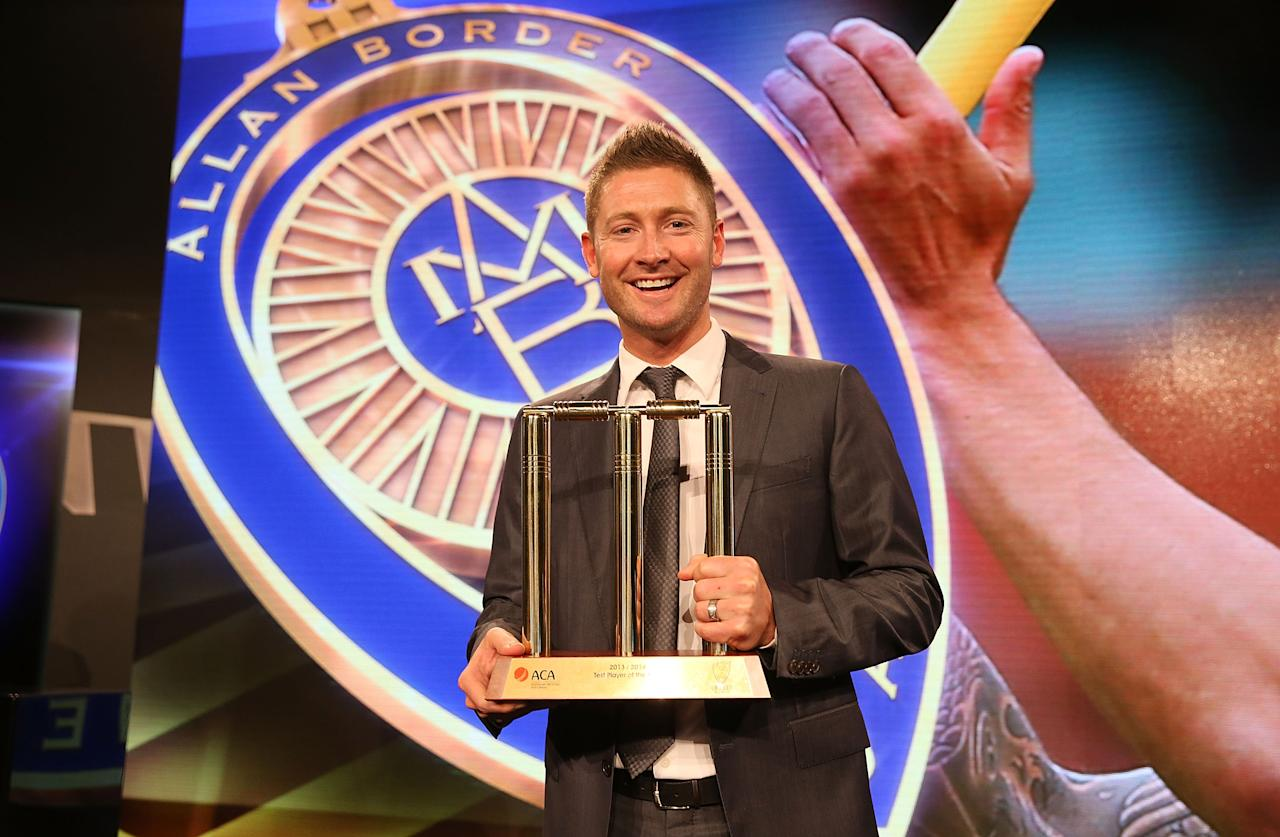SYDNEY, AUSTRALIA - JANUARY 20:  Michael Clarke poses after being named the Test Cricket Player Of The Year during the 2014 Allan Border Medal at Doltone House on January 20, 2014 in Sydney, Australia.  (Photo by Mark Metcalfe/Getty Images)