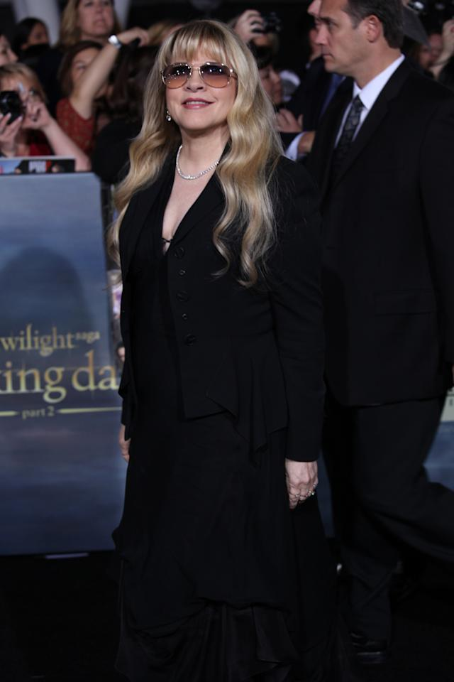 "Stevie Nicks arrives at ""The Twilight Saga: Breaking Dawn - Part 2"" Los Angeles premiere at the Nokia Theatre L.A. Live on November 12, 2012 in Los Angeles, California."