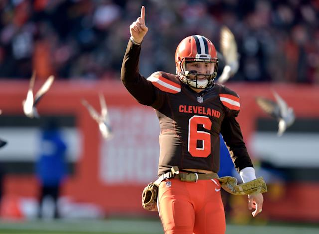Fans will have chances to see Cleveland Browns quarterback Baker Mayfield (6) in prime time this season. (AP)