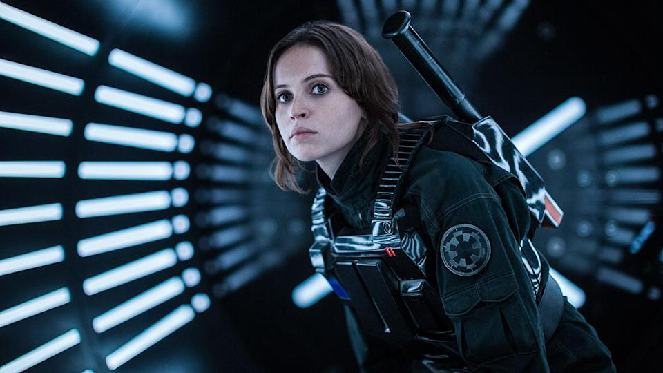 <p>Jyn dons an imperial ground crew costume in the film's final act, but this shot that featured heavily in the marketing doesn't actually appear in the finished film. Credit: Lucasfilm/Disney </p>