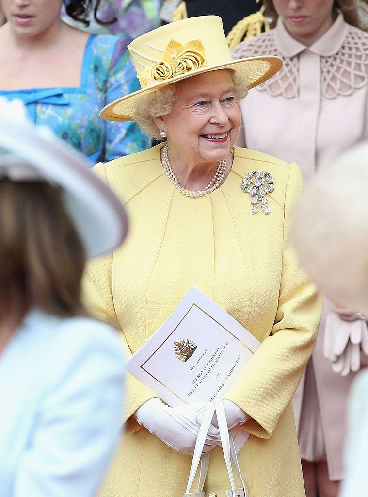 """<p>From her collection of many, the Queen chose to wear Queen Mary's Lover's Knot brooch for her grandson's wedding. Of course, the Lover's Knot is an appropriate choice for a wedding, but the monarch has also worn it on several high-profile royal and state occasions before, including at the wedding of her late sister, Princess Margaret, according to the <a href=""""http://www.thecourtjeweller.com/2020/02/queen-marys-lovers-knot-brooch.html"""" rel=""""nofollow noopener"""" target=""""_blank"""" data-ylk=""""slk:Court Jeweller."""" class=""""link rapid-noclick-resp"""">Court Jeweller.</a></p>"""