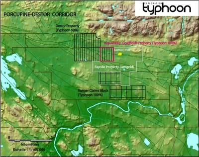 Aiguebelle-Goldfields Property's location (CNW Group/Typhoon Exploration Inc.)