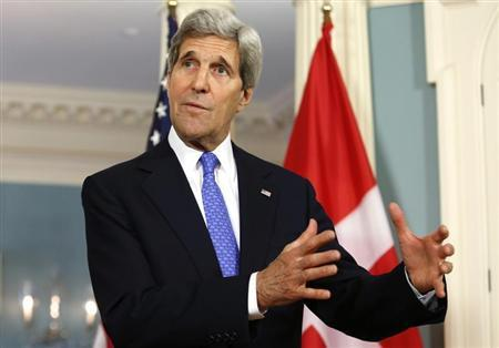 U.S. Secretary of State John Kerry talks to reporters about Ukraine, at the State Department in Washington