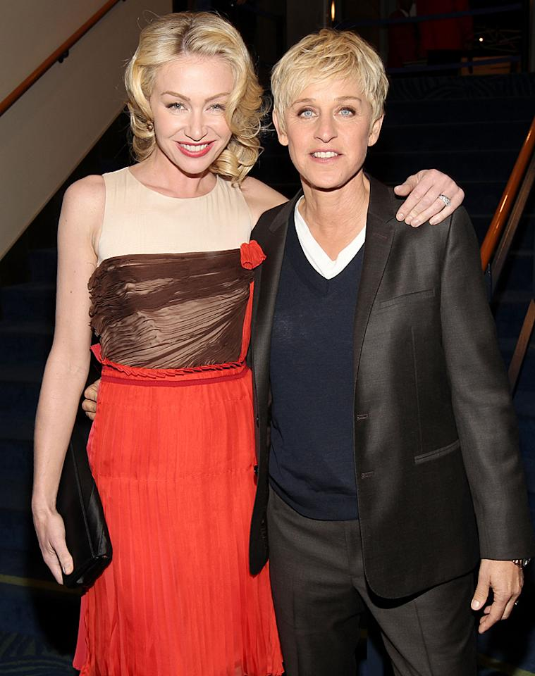 """<p class=""""MsoNormal""""><span style=""""font-size:11.0pt;"""">After tying the knot in 2008, comedian and talk-show host Ellen DeGeneres, 54, and her wife, 39-year-old actress Portia de Rossi, have been constantly asked if they're going to have children. """"We thought about it. We love to be around children after they've been fed and bathed. But we ultimately decided that we don't want children of our own. There is far too much glass in our house,"""" DeGeneres wrote in her latest book <em>Seriously...I'm Kidding</em>, released in October. Though false rumors are often swirling about de Rossi being pregnant, the actress sees the coverage as a good thing. """"I feel like we kind of get all the same stuff that any heterosexual couple would get in the public eye,"""" she told <em>The Los Angeles Times</em> in 2009. """"And that is great, that is wonderful – including the baby bump.""""</span><em><span style=""""font-style:normal;""""></span></em></p>"""