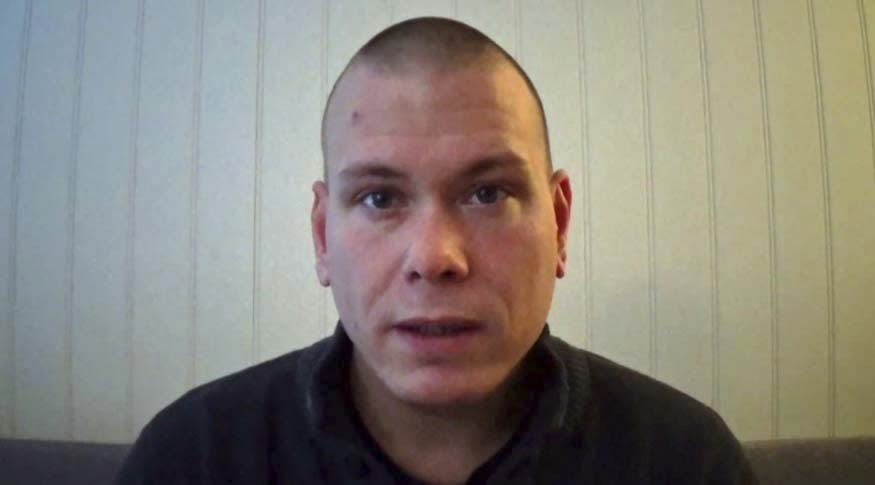 A frame grab made on Thursday Oct. 14, 2021 from a video posted online by and showing Espen Andersen Braathen, a 37-year-old Danish citizen, who was arrested Wednesday night for killing 5 people in the Norwegian town of Kongsberg. Norwegian authorities say that the the bow-and-arrow rampage by Brathen appeared to be a terrorist act. (Espen Andersen Braathen via AP)