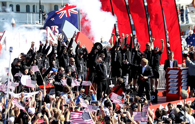 SAN FRANCISCO, CA - SEPTEMBER 25: Oracle Team USA skippered by James Spithill celebrates after defeating Emirates Team New Zealand skippered by Dean Barker during the final race of the America's Cup Finals on September 25, 2013 in San Francisco, California. (Photo by Jed Jacobsohn/Getty Images)