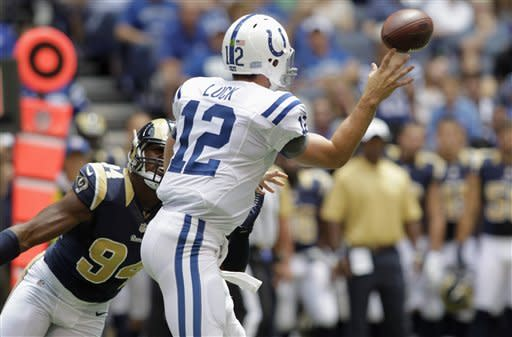 Indianapolis Colts quarterback Andrew Luck (12) releases a pass that was caught for a touchdown while under pressure from St. Louis Rams defensive end Robert Quinn (94) in the first half of an NFL preseason football game in Indianapolis, Sunday, Aug. 12, 2012. (AP Photo/AJ Mast)