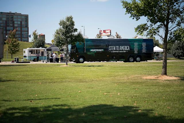 The HuffPost bus on location.