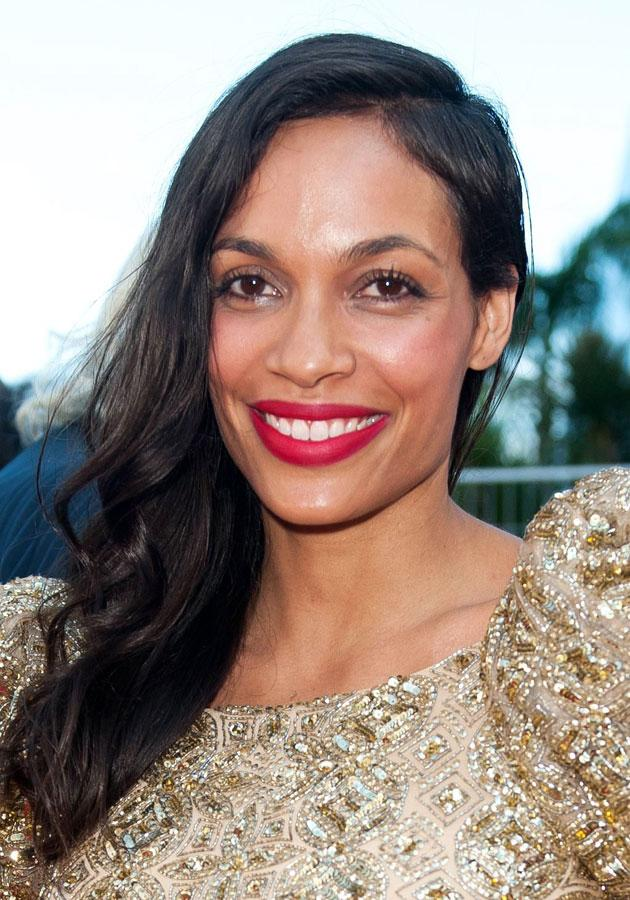 Rosario Dawson looked stylish in red at Cannes. [Rex]