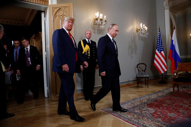 <p>U.S. President Donald Trump meets with Russia's President Vladimir Putin in Helsinki, Finland, July 16, 2018. (Photo: Kevin Lamarque/Reuters) </p>