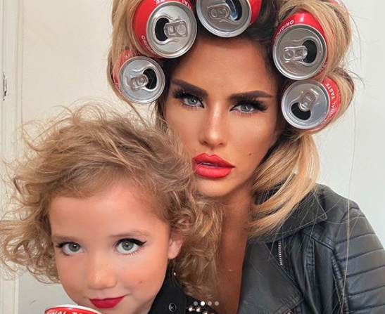 Katie Price six year old daughter Bunny full makeup rock n roll coke can photoshoot