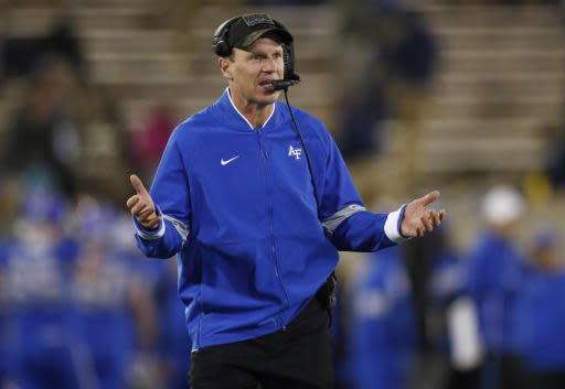 Air Force coach Troy Calhoun gestures during the second half of the team's NCAA college football game against Fresno State on Saturday, Oct. 12, 2019, at Air Force Academy, Colo. (AP Photo/David Zalubowski)