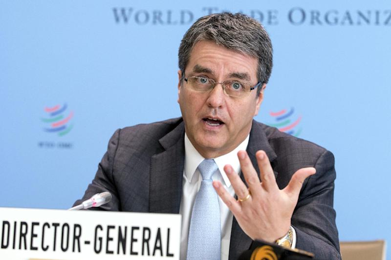 World Trade Organization, WTO, Director General Roberto Azevedo, of Brazil, informs the media about the next ministerial meeting on Bali during a press conference, after the General Council at the headquarters of the World Trade Organization in Geneva, Switzerland, Tuesday, Nov. 26, 2013. (AP Photo/Keystone,Salvatore Di Nolfi)