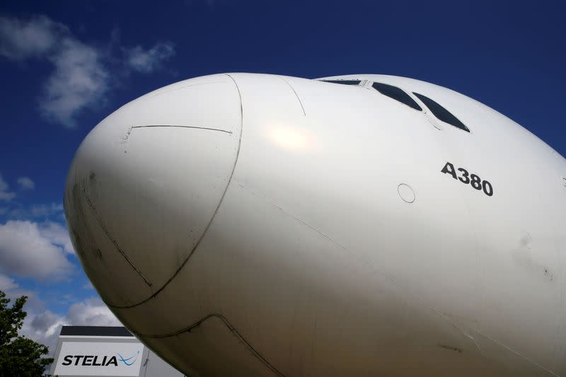 FILE PHOTO: The nose of an Airbus A380 is seen outside the factory of Stelia Aerospace in Meaulte