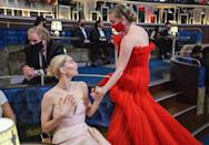 <p>Best Supporting Actress nominee Amanda Seyfried has a moment with Best Actress nominee Vanessa Kirby between segments. </p>