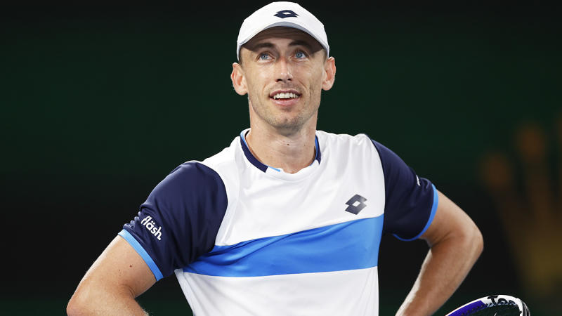 John Millman, pictured during the third round of the Australian Open, took to Twitter to express his thoughts about his loss to Roger Federer.