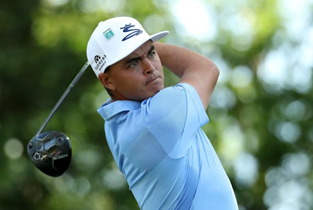 Rickie Fowler of the U.S. hits off the second tee during second round play of the 2018 Masters golf tournament at the Augusta National Golf Club in Augusta, Georgia, U.S., April 6, 2018. REUTERS/Lucy Nicholson