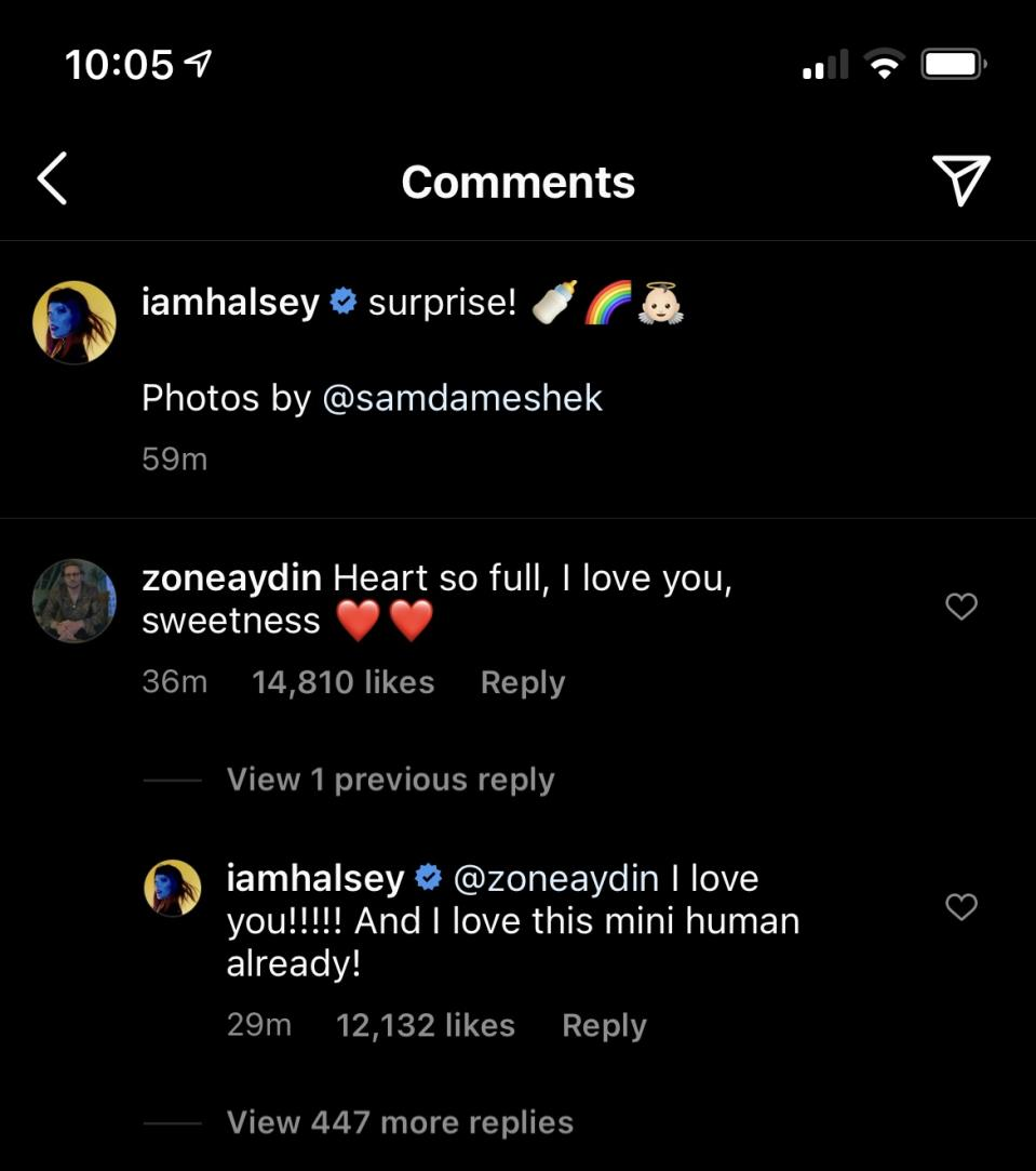Halsey and Alev Aydin express excitement in the comments section. (Photo: Instagram)
