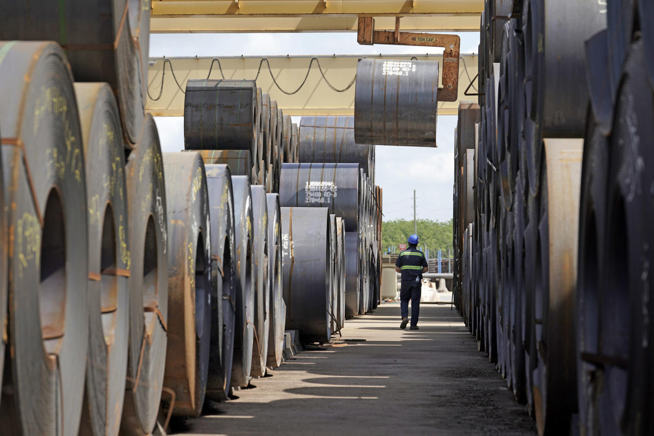 <p> A roll of steel is moved at the Borusan Mannesmann Pipe manufacturing facility Tuesday, June 5, 2018, in Baytown, Texas. Borusan is seeking a waiver from the steel tariff to import 135,000 metric tons of steel tubing and casing annually over the next two years. (AP Photo/David J. Phillip) </p>
