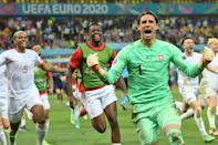 Switzerland's Yann Sommer leads the celebrations after the penalty shoot-out win against France