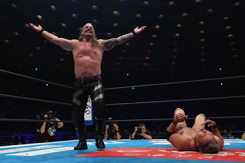 OSAKA, JAPAN - JUNE 09: Chris Jericho and Kazuchika Okada compete in the IWGP Heavy Weight Championship bout during the Dominion 6.9 In Osaka-Jo Hall of NJPW on June 09, 2019 in Osaka, Japan. (Photo by Etsuo Hara/Getty Images)