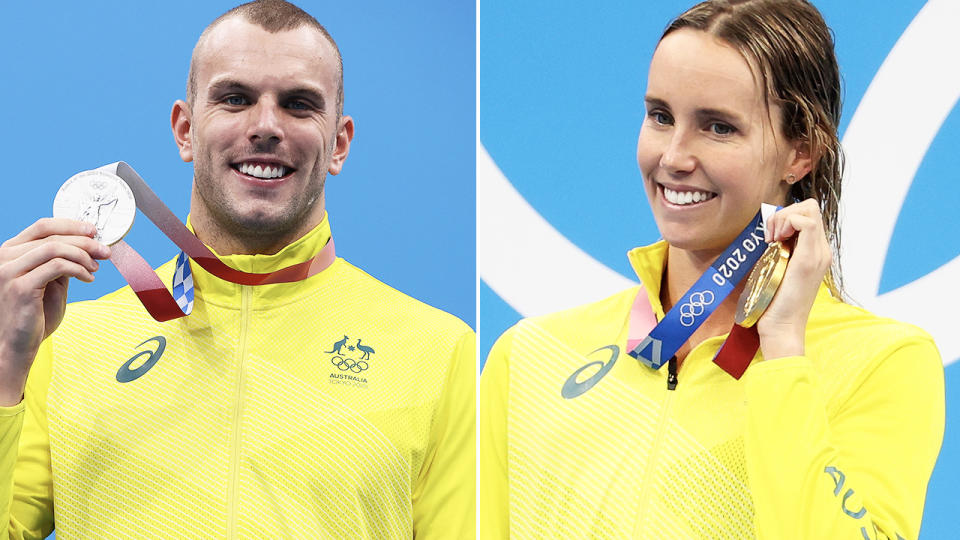 Kyle Chalmers and Emma McKeon, pictured here at the Tokyo Olympics.