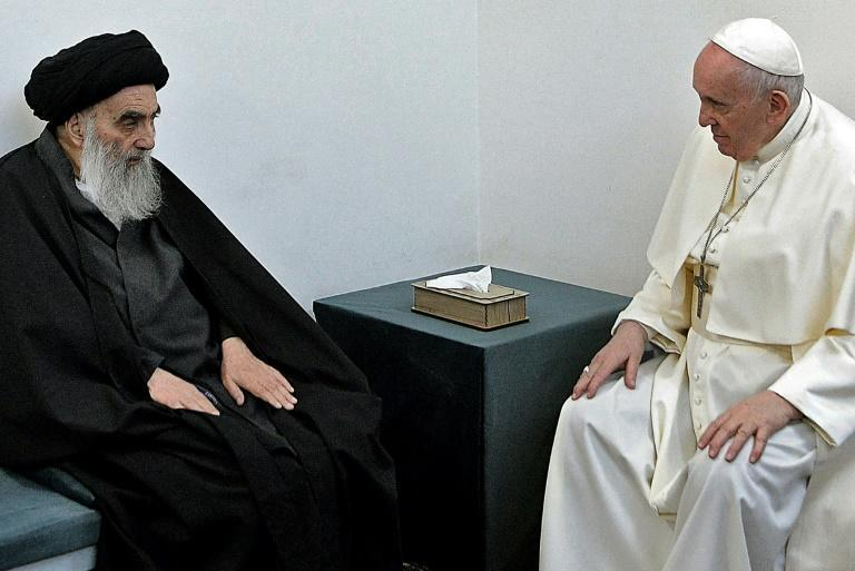 Pope Francis holds a milestone interfaith meeting with Iraq's top Shiite Muslim cleric Grand Ayatollah Ali al-Sistani on the second day of his historic visit to Iraq