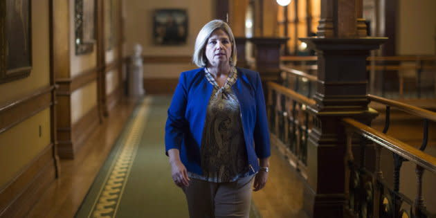 NDP Leader Andrea Horwath walks to her office following question period at the Ontario Legislature in Toronto on Aug. 1, 2018.