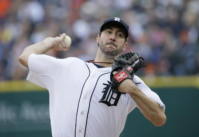 Detroit Tigers starting pitcher Justin Verlander throws in the first inning during Game 3 of the American League baseball championship series against the Boston Red Sox Tuesday, Oct. 15, 2013, in Detroit. (AP Photo/Matt Slocum)