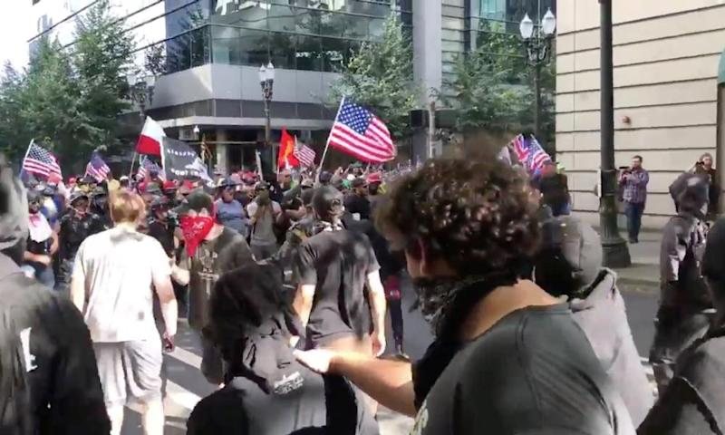 Protesters of the rightwing group Patriot Prayer clash with protesters from anti-fascist groups in Portland, Oregon.