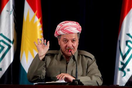 Iraqi Kurdish president Barzani speaks during a news conference in Erbil
