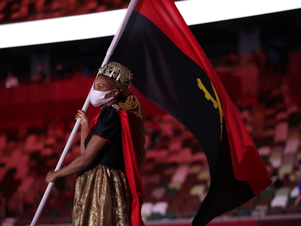 Athletes from Angola make their entrance at the Summer Olympics.