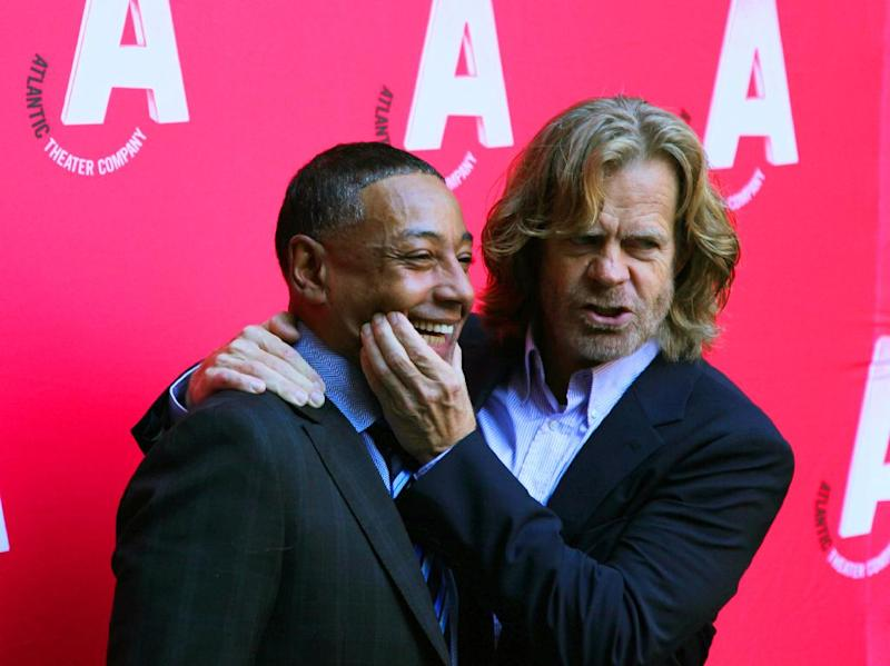 "Actors Giancarlo Esposito, left, and William H. Macy appear at the celebration of the reopening of the Atlantic Theater Company, Monday, Oct. 1, 2012, after an $8.3 renovation project in New York. The Atlantic, founded in 1985 by David Mamet and Macy, has produced more than 130 plays, including the Tony Award-winning productions of ""Spring Awakening"" and ""The Beauty Queen of Leenane."" Its facelift included the renovation of 6,300 square feet of space containing the newly dedicated 199-seat Linda Gross Theater, the expansion of a 5,100-square-foot basement to create an enlarged lobby with new restrooms, a new box office, improved handicap access, a prop-building workshop, a costume shop and backstage support offices. (AP Photo/Mark Kennedy)"