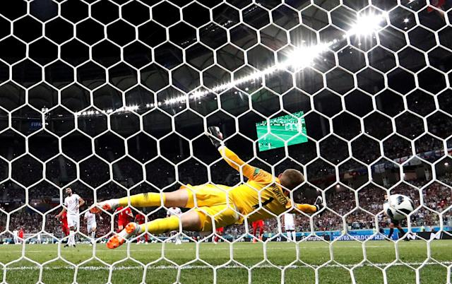 Soccer Football - World Cup - Group G - Tunisia vs England - Volgograd Arena, Volgograd, Russia - June 18, 2018 Tunisia's Ferjani Sassi scores their first goal REUTERS/Jorge Silva TPX IMAGES OF THE DAY