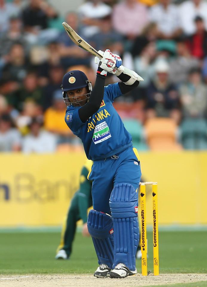 HOBART, AUSTRALIA - JANUARY 23: Mahela Jayawardene of Sri Lanka bats during game five of the Commonwealth Bank One Day International Series between Australia and Sri Lanka at Blundstone Arena on January 23, 2013 in Hobart, Australia.  (Photo by Robert Cianflone/Getty Images)