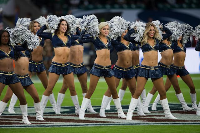 <p>The Rams cheerleaders perform during the game between the Los Angeles Rams and the Arizona Cardinals. (Photo by Tim Williams/Action Plus via Getty Images) </p>
