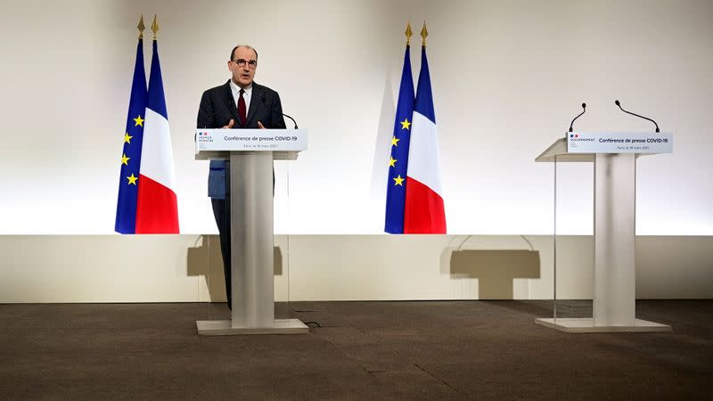 French Prime Minister Castex delivers a news conference on the current strategy for the ongoing COVID-19 pandemic, in Paris