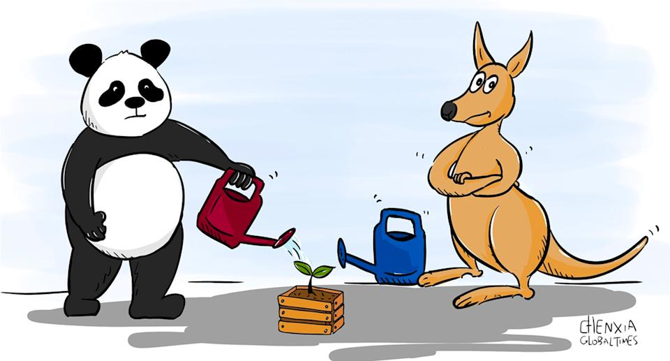 A cartoon alluding to Australia's unwillingness to cooperate in helping the region. Source: Global Times