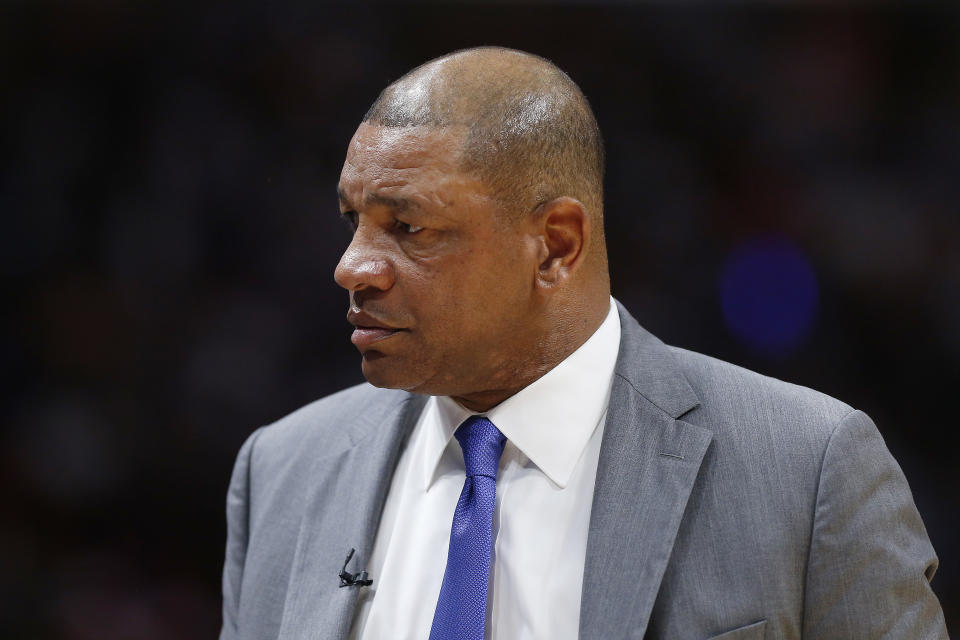 """Doc Rivers says his friend Masai Ujiri showed him """"very hurtful"""" footage from his incident with a sheriff's deputy. (Michael Reaves/Getty Images)"""