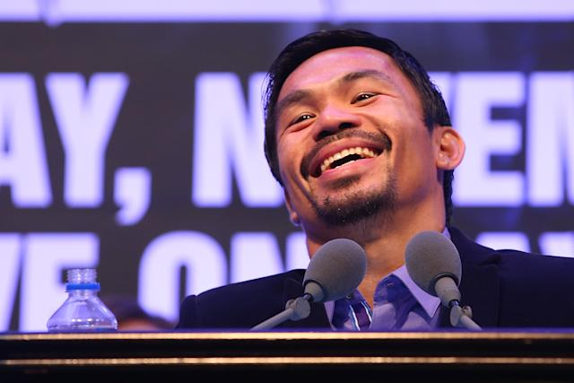 Manny Pacquiao has made numerous concessions in hopes of landing a fight with Floyd Mayweather. (Photo by Chris Hyde/Getty Images)